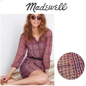 Madewell Silk Peasant Dress in Retrogrid